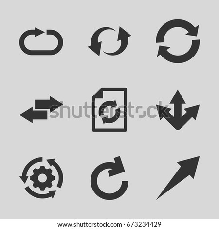 Reload icons set. set of 9 reload filled icons such as update, arrow