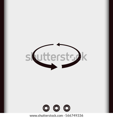 Reload vector icon isolated on white. Circular arrows illustration. Simple flat spin pictogram.