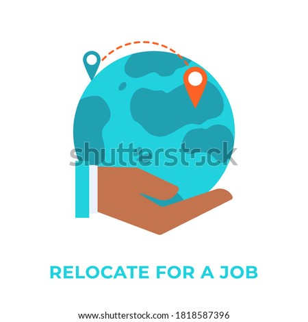 Relocate for work. Hand holding globe with map pins. Moving to another country. Human resources agency for migrants. Expatriate program, outside country employment concept. Global employee exchange.