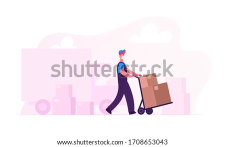 Relocation and Moving into New House. Worker Character in Medical Mask Push Trolley with Cardboard Box Unloading Truck. Delivery Company Loader Service at Covid19 Pandemic. Cartoon Vector Illustration Photo stock ©