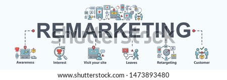 Remarketing banner web icon for business and social media marketing, content marketing, interest, awareness, seo, awareness, retargeting and advertising online marketing. Flat vector infographic