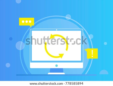 REMARKETING web sites. Computer Update online. Vector flat gradient illustration