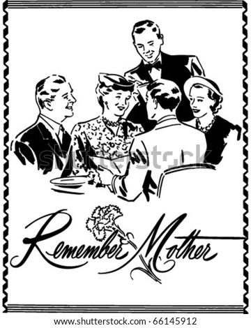 Remember Mother - Ad Header - Retro Clipart - stock vector