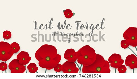 Remembrance day concept, A poppy flower banner vector Stock fotó ©
