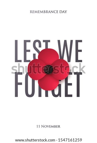 Remembrance Day design for brochure, flyer, poster and social network. Red Poppy flower in paper art style. Lest We Forget inscription. Stock vector illustration. Stock fotó ©