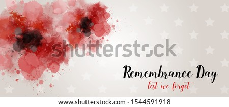 Remembrance Day. Lest we forget. Banner with abstract watercolor painted poppies - remembrance day symbol. Horizontal holiday banner tempalte Сток-фото ©