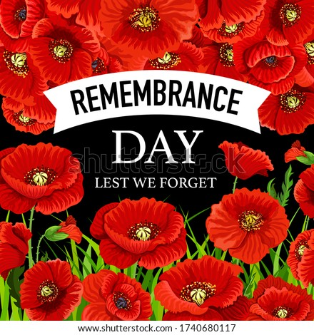 Remembrance Day November 11 poppies. Lest we forget greeting card with poppy flowers vector design. Commonwealth armistice freedom and veterans commemoration memorial day Сток-фото ©