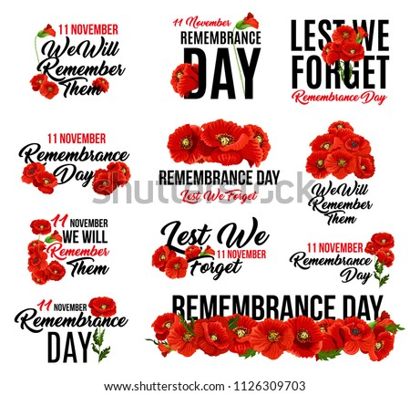 Remembrance Day poppy flower icon. Memorial Day floral symbol of red poppy flower wreath with Lest We Forget text for 11 November Armistice Day anniversary celebration in British Commonwealth Stockfoto ©