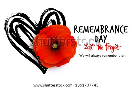 Remembrance day vector card with bright red Poppy flower. Lest we forget  hand written lettering. Foto stock ©