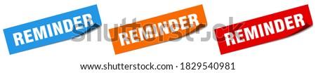 reminder paper peeler sign set. reminder sticker Сток-фото ©