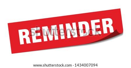 reminder square sticker. reminder sign. reminder banner Stockfoto ©