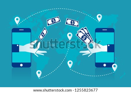 Remittance. Hand sending dollars smart phone with banking payment app. Money transfer. Currency exchange. People sending and receiving money wireless with mobile phones. Vector illustration white blue