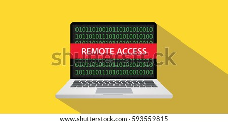remote access concept illustration with laptop comuputer and text banner on screen with flat style and long shadow