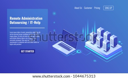 Remote administration service, outsourcing concept, it help, server room rack, database query isometric vector icon
