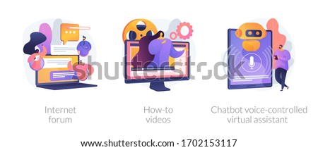 Remote communication, life hack media, automated online helper. Internet forum, how-to videos, chatbot voice-controlled virtual assistant metaphors. Vector isolated concept metaphor illustrations.