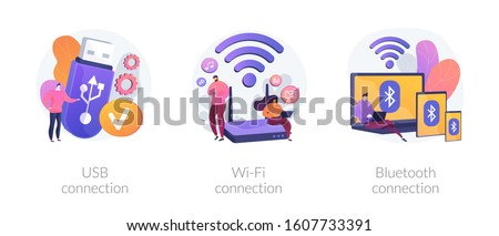 Remote connected devices. Wireless Internet router, modem, data storage device. USB connection, Wi-Fi connection, Bluetooth connection metaphors. Vector isolated concept metaphor illustrations.