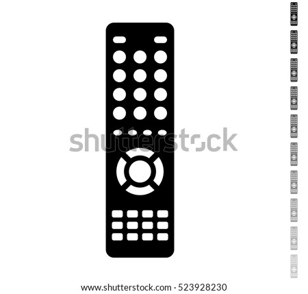 Remote control - black vector icon and ten icons in  shades of grey