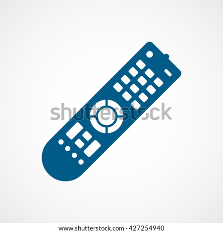 Remote Control Blue Flat Icon On White Background