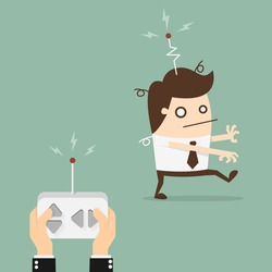 Remote control businessman