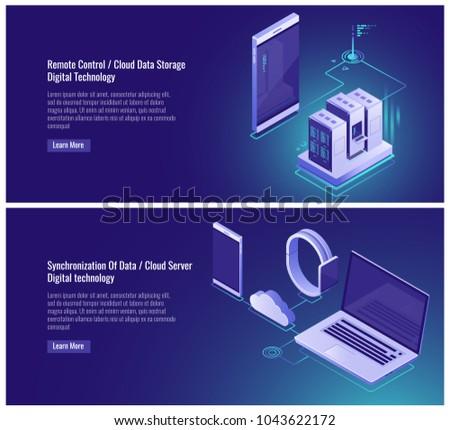 Remote control, cloud data storage, server room rack, mainframe, electronic devices, synchronization data, smartphone samrtwatch laptop isometric vector illustration on ultraviolet background