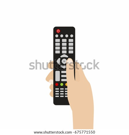 Remote control for TV. Hand holding TV remote control. Vector