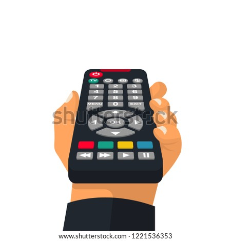 Remote control holding in hand. Wireless television control. Social media. Rest at home, while watching programs. Vector illustration flat design. Isolated on white background.