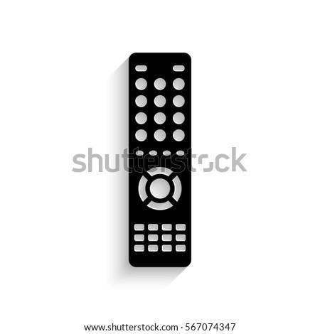 Remote control icon - black vector illustration with  shadow