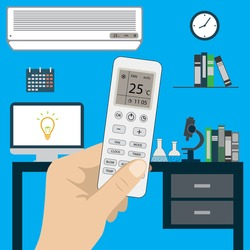 Remote control of air conditioner in hand and air conditioner in room, flat cartoon  stock vector illustration