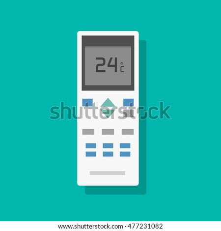 Remote control of air conditioner vector illustration, flat remote controller equipment with display