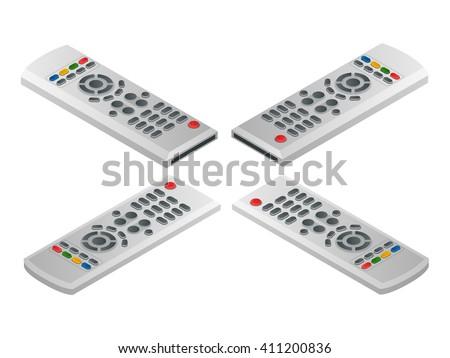Remote control tv. Flat 3d vector isometric illustration