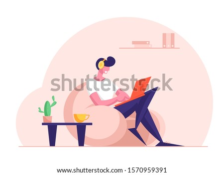 Remote Freelance Work Concept. Man Freelancer Wearing Headset Sitting in Comfortable Armchair Working Distant on Laptop. Creative Employee Character Work at Home. Cartoon Flat Vector Illustration