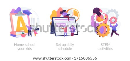 Remote home education abstract concept vector illustration set. Home-school your kids, set up daily schedule, STEM activities, quarantine learning daily routine, study calendar abstract metaphor. Stockfoto ©