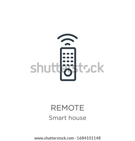 Remote icon. Thin linear remote outline icon isolated on white background from smart house collection. Line vector sign, symbol for web and mobile Stock photo ©