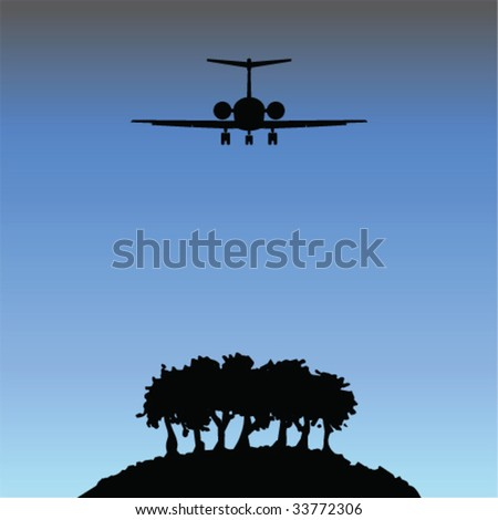 remote island with airplane