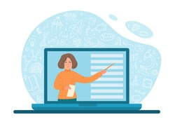 Remote learning. Online distance education. Teacher with pointer on laptop screen writs school subjects doodle around. Educational video conference, or webinar vector illustration.