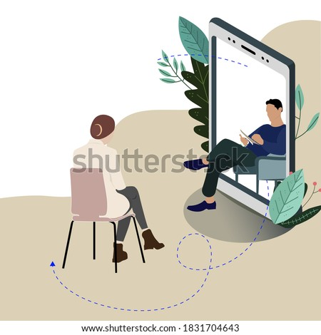 Remote mental consultation at psychologist, individual mind therapy in smartphone, vector helpline psychiatry, illustration psychotherapy and psychoanalysis help, psychiatrist live stream