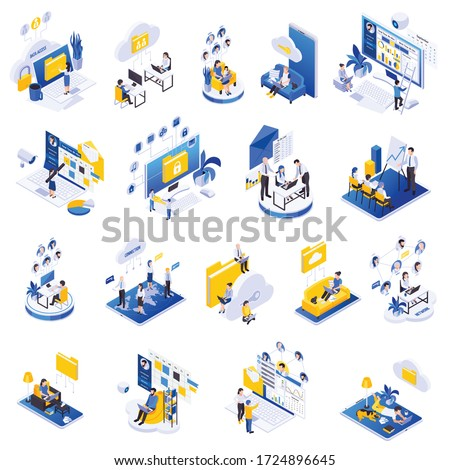 Remote secure management configuration control tools safe data storage exchange cloud software isometric icons set vector illustration   Photo stock ©