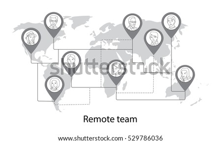 Remote team, social network concept of people all around the world connecting, thin line style vector