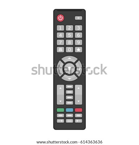 Remote TV Control isolated on white background. Vector illustration in modern flat style. EPS 10.