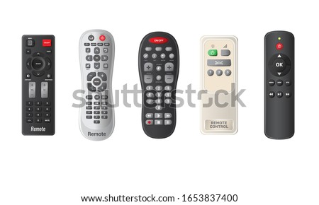 Remote TV controls buttons isolated vector illustration. Wireless power media device to switch channel programmes remotely. Universal plastic controller technology equipment in realistic style. Stock photo ©
