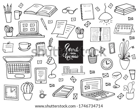 Remote work.  A set of items for the work of a freelancer.  Books, notebooks, pens, watches, cactus, lamp, laptop, personal computer, a cup of coffee.  Doodle style.  Vector drawing.