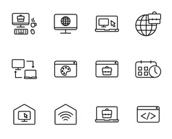 Remote work outline vector icons isolated on white background. Work at home because of 2019-ncov coronavirus pandemic. Line icon set for web, mobile apps, ui design. Stay at home, work at home icons