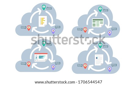 Remote workers collaborating in the cloud. Flat vector icon. Team productivity concept. Business documents syncing across locations. Office 365 real time collaboration.