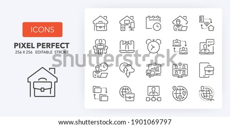 Remote working, business concepts. Thin line icon set. Outline symbol collection. Editable vector stroke. 256x256 Pixel Perfect scalable to 128px, 64px...