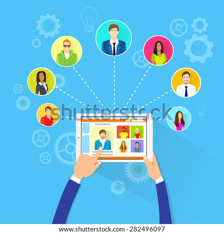 Remote Working Concept Internet Tablet Computer Manager Collaborate Business People Group Outsourcing Team Flat Vector Illustration