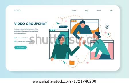 Remote working web banner or landing page. Telework and global outsourcing, Employee work from home. Social-distance during corona virus quarantine. Isolated flat vector illustration