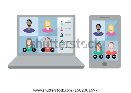Remote working with a business meeting held via a video conference call. Teams joining via laptop and mobile phone. Microsoft Teams call.