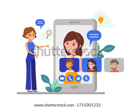Remote working with a business team meeting held via a video conference call. Flat design style online meeting concept illustration. Online webinar, Work form home.