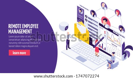 Remotely working employees management isometric web page composition with camera time progress results tracking software vector illustration