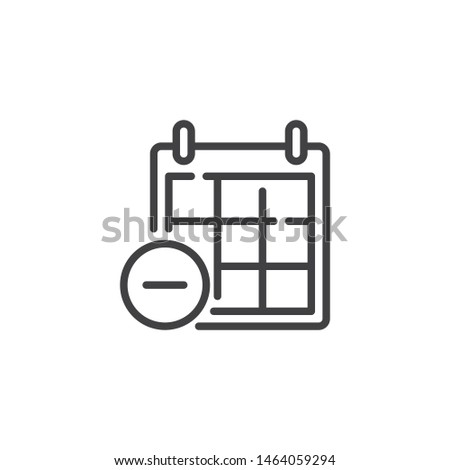 Remove calendar page line icon. linear style sign for mobile concept and web design. Calendar minus outline vector icon. Symbol, logo illustration. Vector graphics